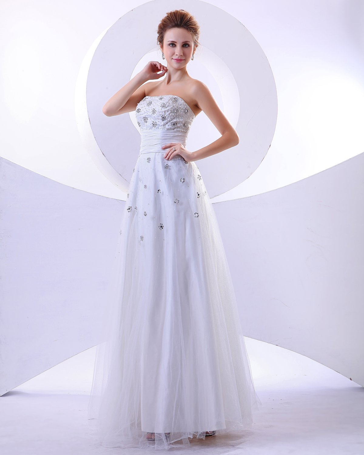 Satin Tulle Ruffles Sleeveless Beading Empire Wedding Dress