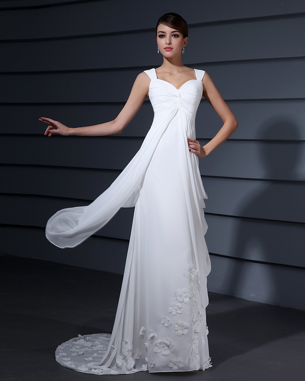 Shoulder Straps Applique Ruffle Floor Length Chiffon Woman Empire Wedding Dress