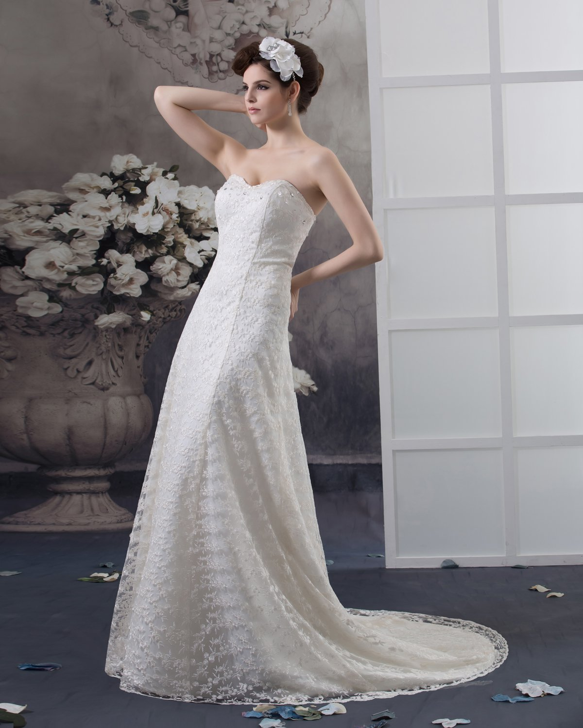 Sweetheart Beading Floor Length Lace Empire Wedding Dress
