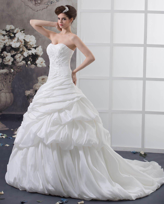 Taffeta Ruffles Beading Applique Court Empire Bridal Gown Wedding Dress