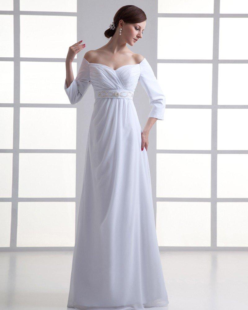 Chiffon Ruffle Beading Off The Shoulder Floor Length Pleated Empire Wedding Dress