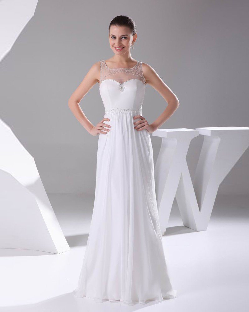 Elegant Chiffon Charmeuse Tulle Beading Square Neck Floor Length Women Wedding Dress