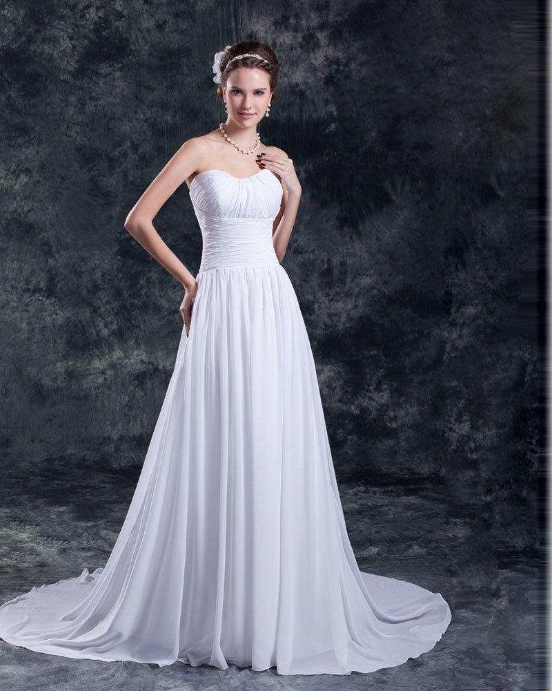 Sweetheart Pleated Floor Length Chiffon Empire Wedding Dress