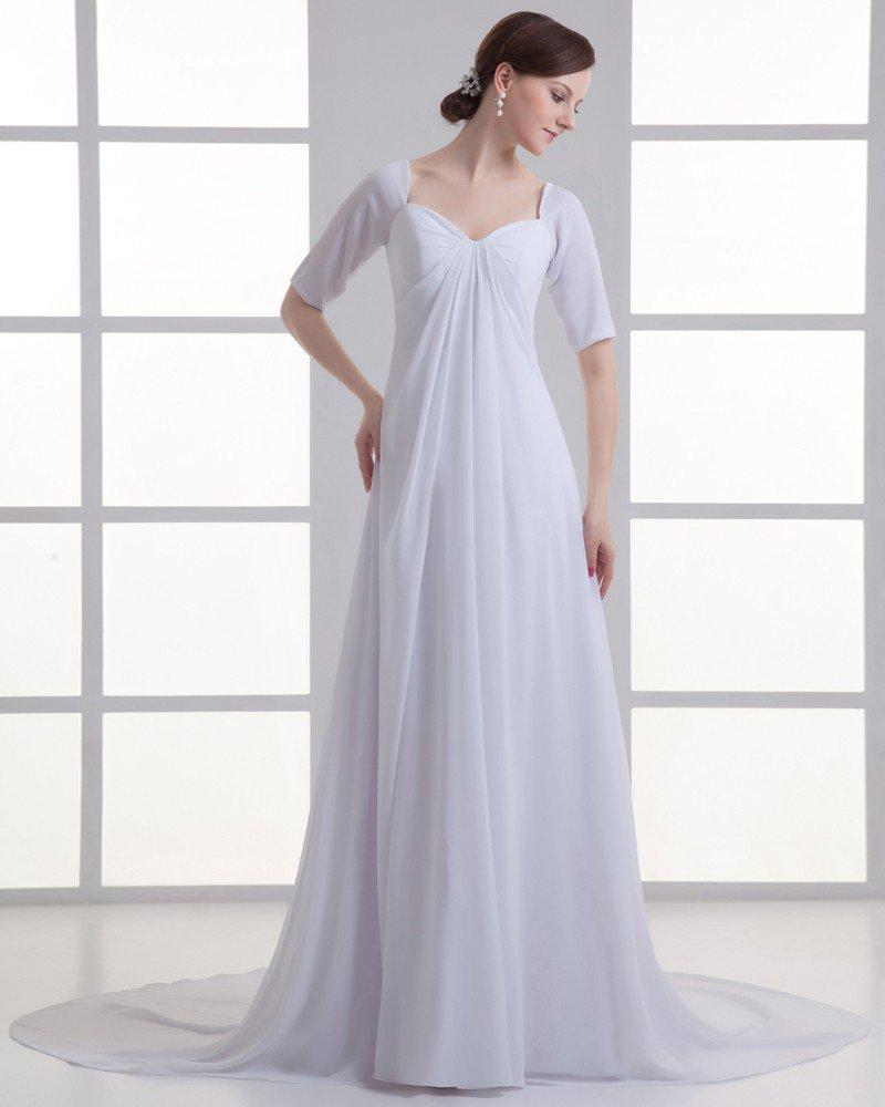 Chiffon Ruffle Sweetheart Court Train Empire Wedding Dress