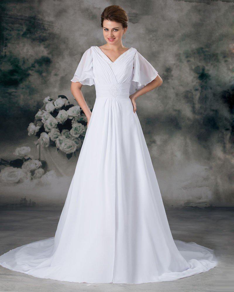 V Neck Short Sleeve Beading Pleated Floor Length Chiffon Empire Wedding Dress