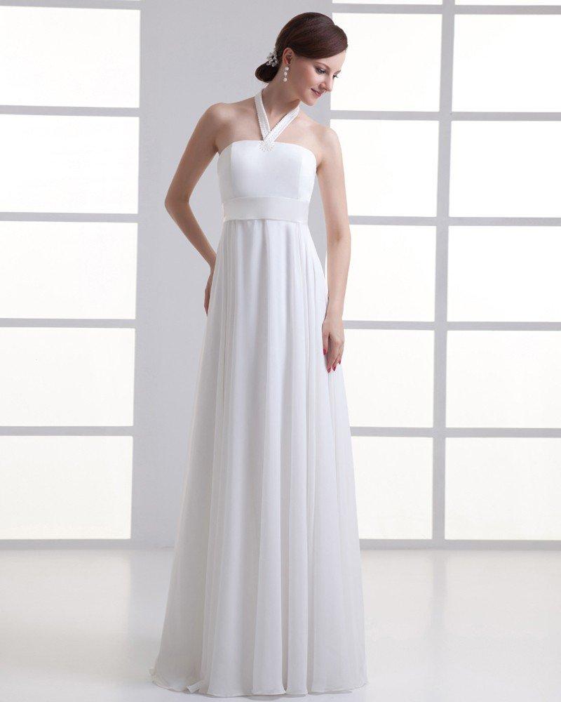Chiffon Beading Halter Floor Length Pleated Empire Wedding Dress