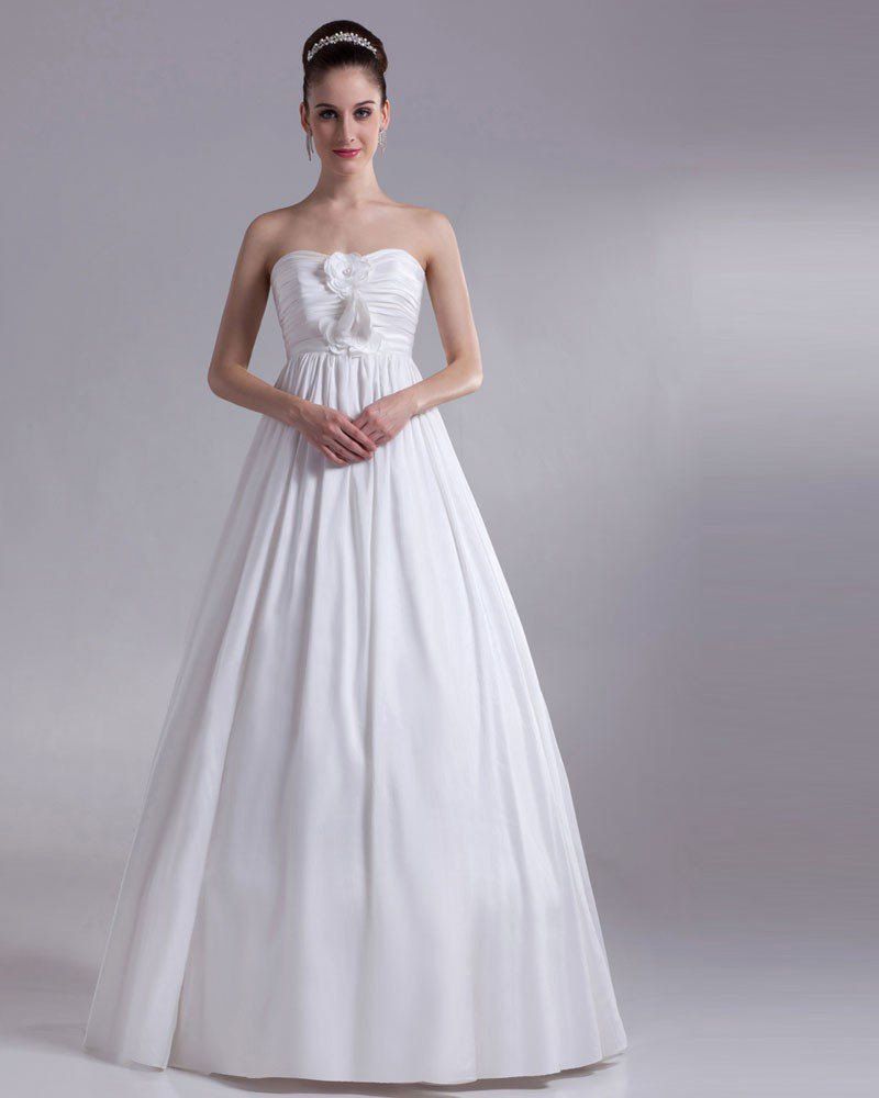 Sweetheart Flower Pleated Floor Length Chiffon Empire Wedding Dress