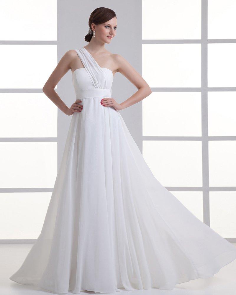 Chiffon Ruffle One Shoulder Floor Length Pleated Empire Wedding Dress