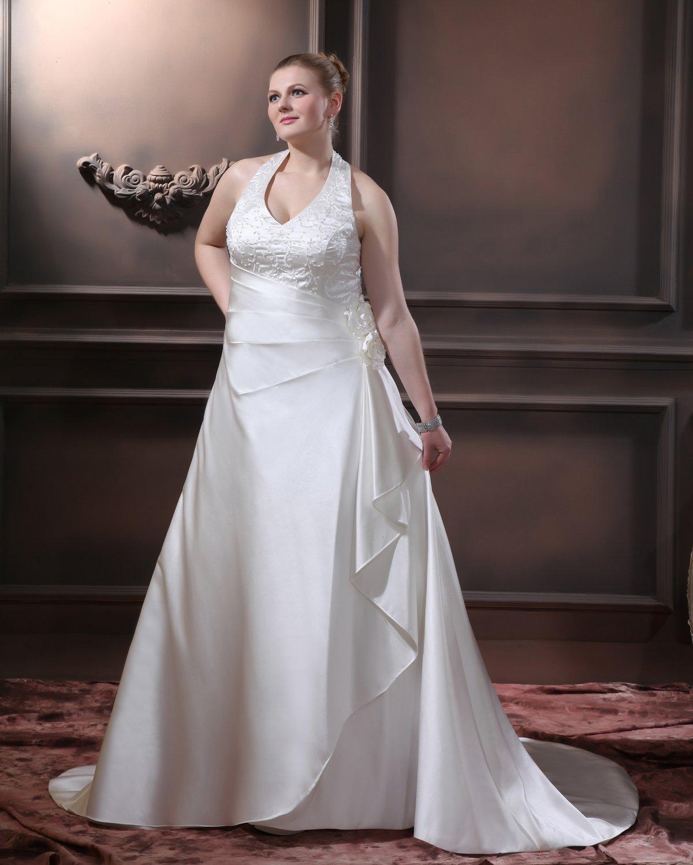 Satin Beading Ruffles V Neck Court Plus Size Bridal Gown Wedding Dress