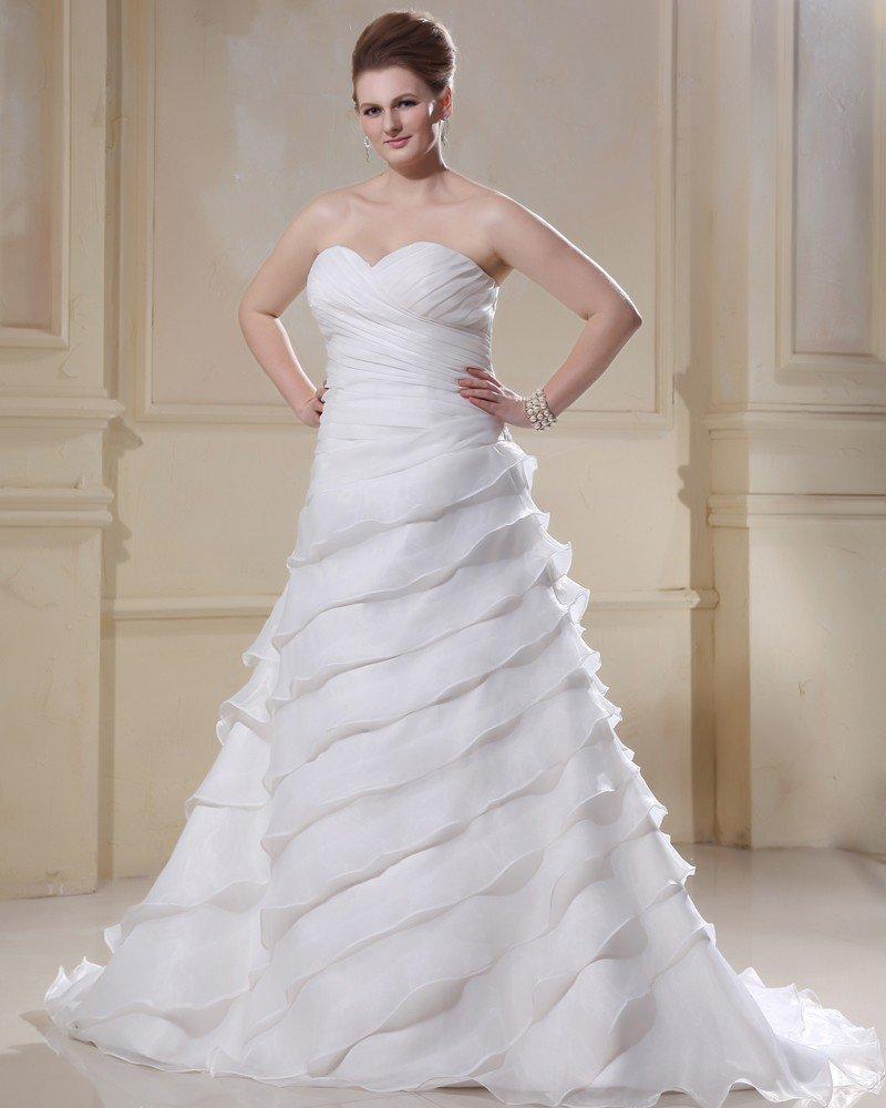 Elegant Chiffon Sweetheart Beading Applique Empire Sweep Plus Size Wedding Dresses