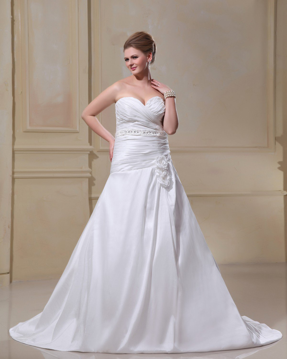 Taffeta Beading Flower Court Plus Size Bridal Gown Wedding Dress