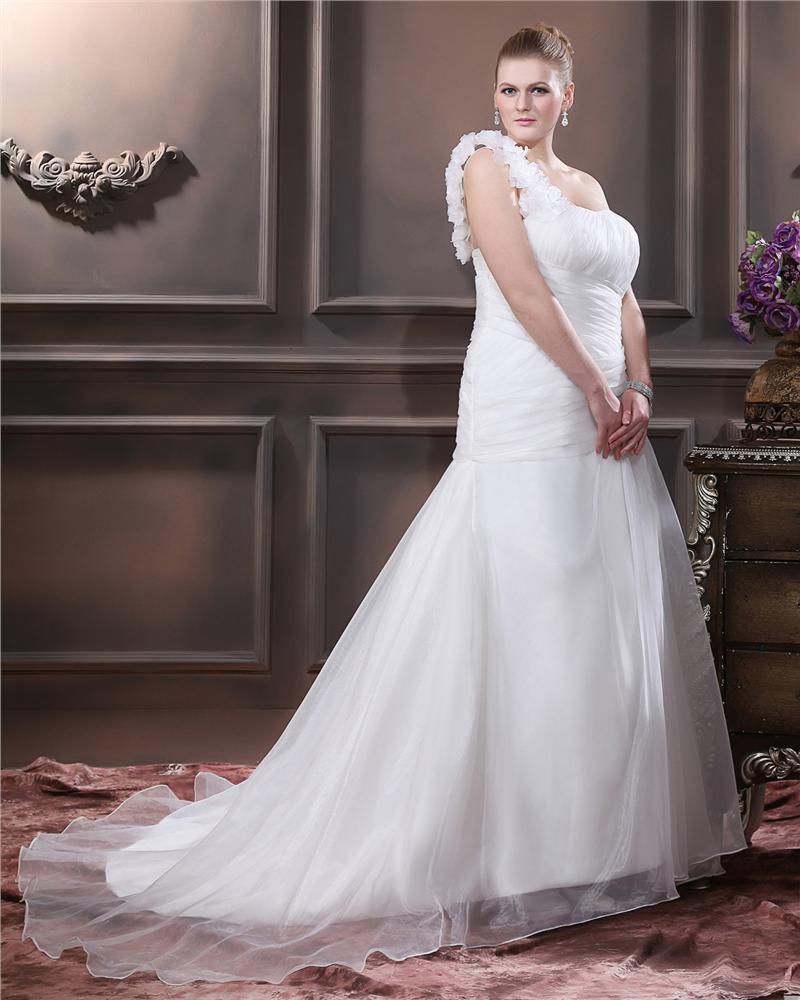 Taffeta Hand Flower Ruffle One Shoulder Plus Size Bridal Gown Wedding Dresses