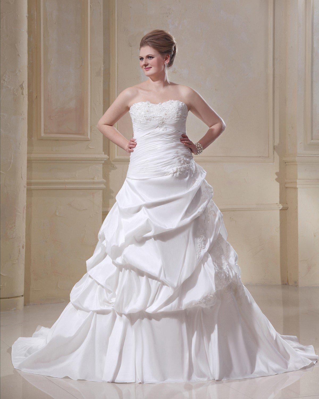 Taffeta Strapless Beading Empire Chapel Train Plus Size Wedding Dresses