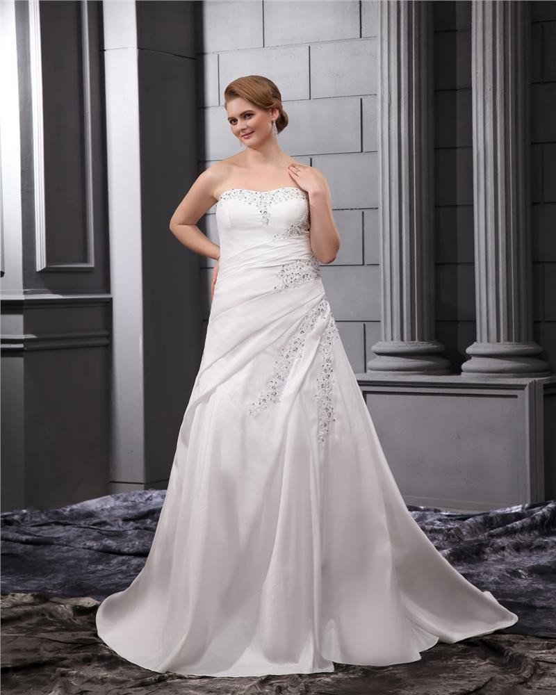 Satin Beaded Embroidery Sweep Plus Size Bridal Gown Wedding Dress
