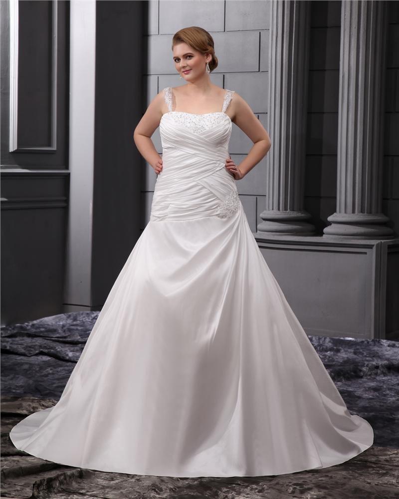 A-Line Square Sleeveless Sweep Satin Chiffon Embroidery Bead Plus Size Wedding Dress