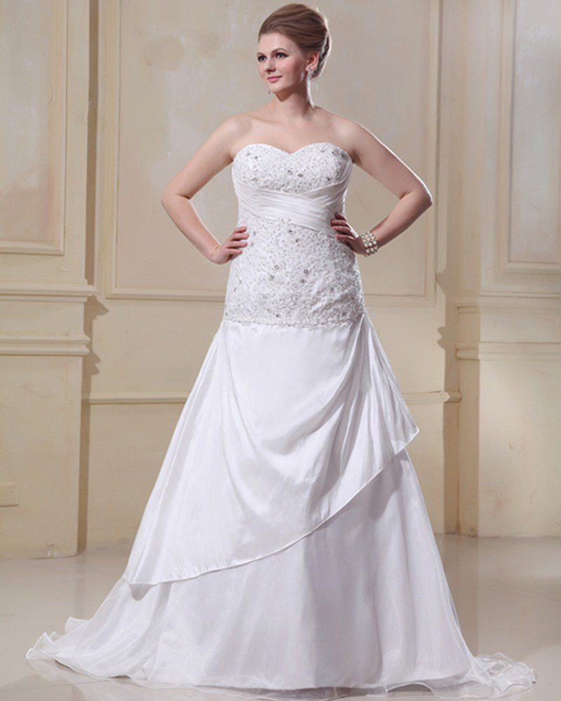 Satin Organza Ruffle Beading Sweetheart Court Plus Size Bridal Gown Wedding Dress