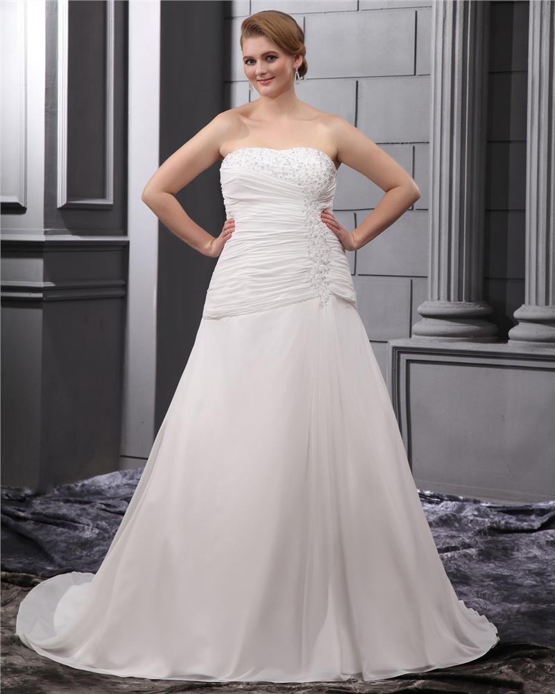 Satin Chiffon Ruffle Embroidery Court Large Size Bridal Gown Wedding Dress