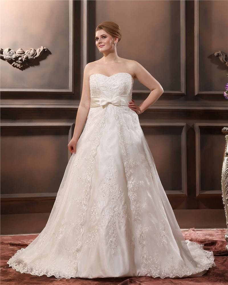 Satin Applique Sweetheart Plus Size Wedding Dresses
