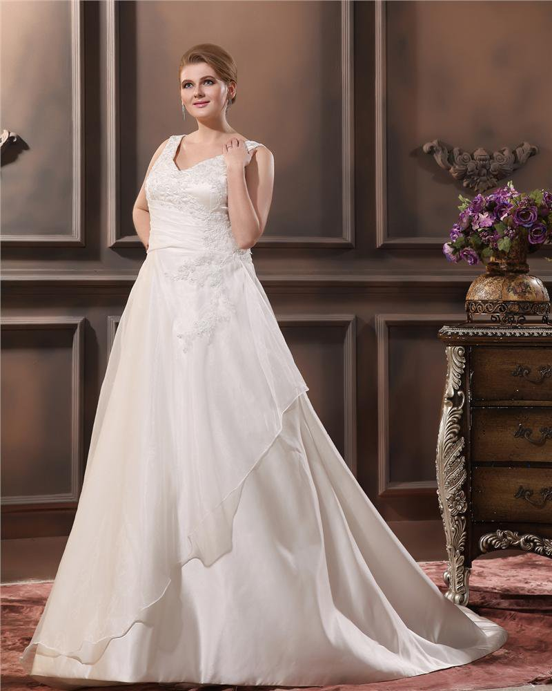 A-Line V Neck Sleeveless Sweep Plus Size Wedding Dress