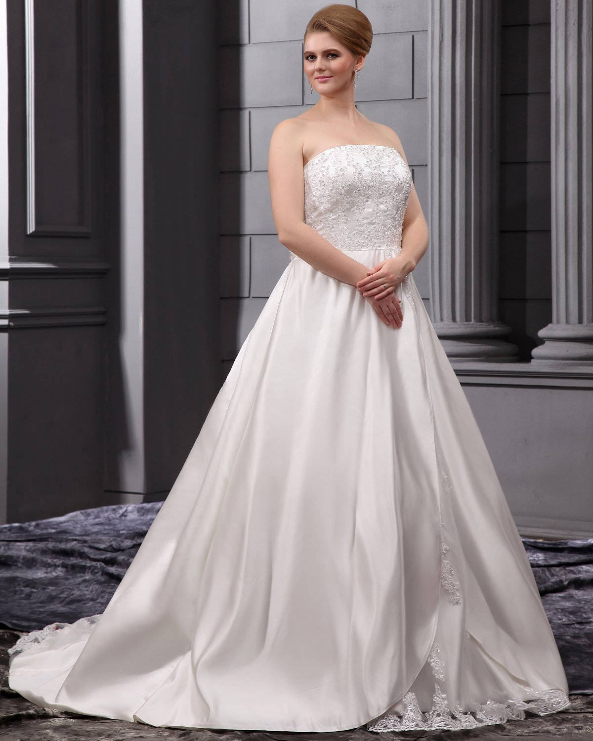 A-Line Strapless Sweep Satin Lace Embroidery Bead Plus Size Wedding Dress