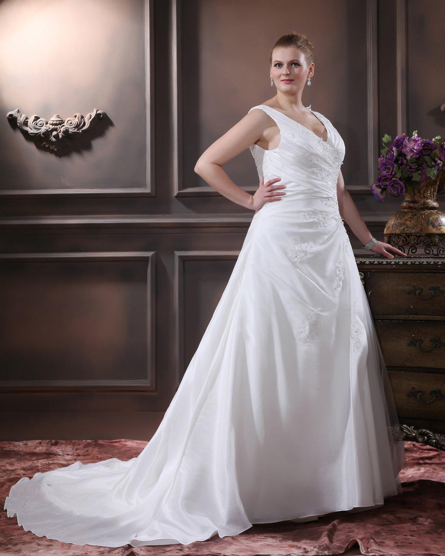 Elegant A-Line V-Neck Sleeveless Floor-Length Satin Plus Size Wedding Dresses