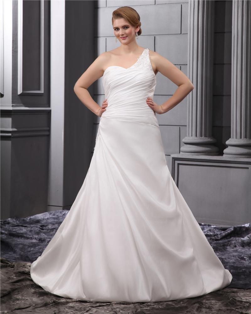 Satin One Shoulder Ruffle Chapel Plus Size Bridal Gown Wedding Dresses