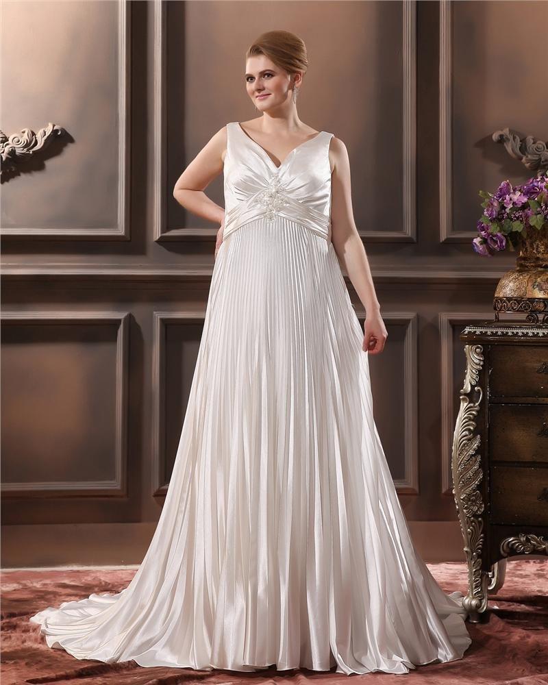 Charmeuse Beading Ruffle V Neck Chapel Plus Size Bridal Gown Wedding Dresses
