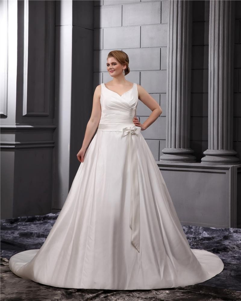 Satin V-Neck Empire Sweep Plus Size Wedding Dresses