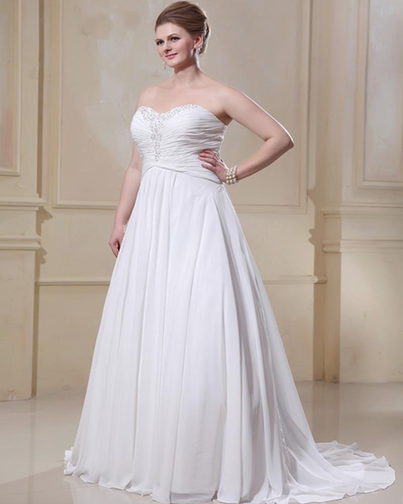 Chiffon Beading Sweetheart Court Plus Size Bridal Gown Wedding Dress