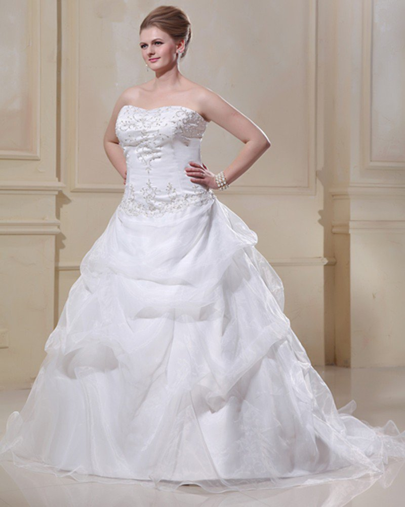 Taffeta Organza Beaded Embroidery Sweep Plus Size Bridal Gown Wedding Dress