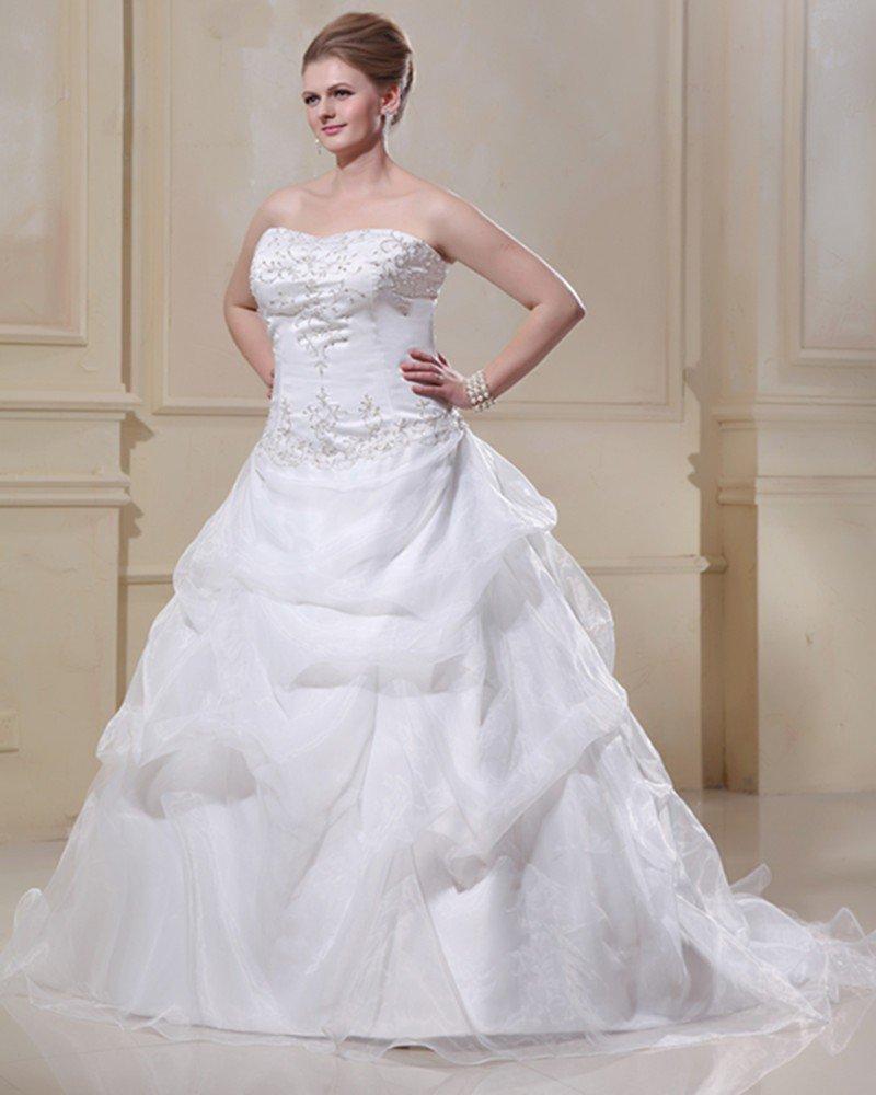 Taffeta Organza Beaded Embroidery Sweep Plus Size Bridal Gown Wedding Dress