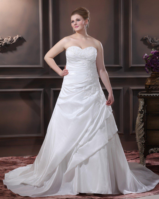 A-Line Strapless Sweep Taffeta Embroidery Bead Plus Size Wedding Dress