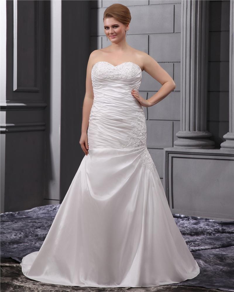 Satin Applique Chapel Plus Size Bridal Gown Wedding Dress