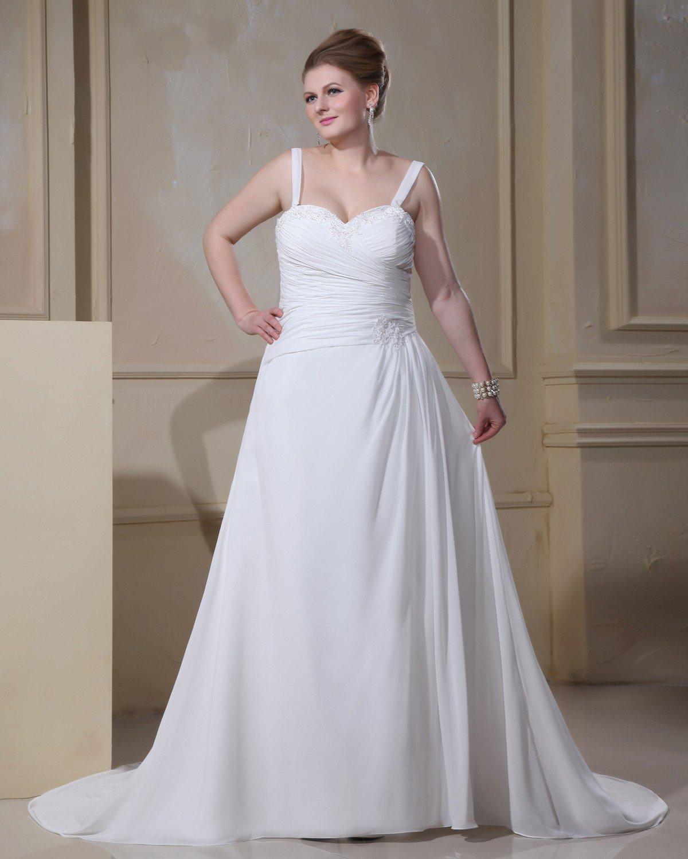 Elegant Spaghetti Straps Sleeveless Floor-Length Satin Chiffon Plus Size Wedding Dresses