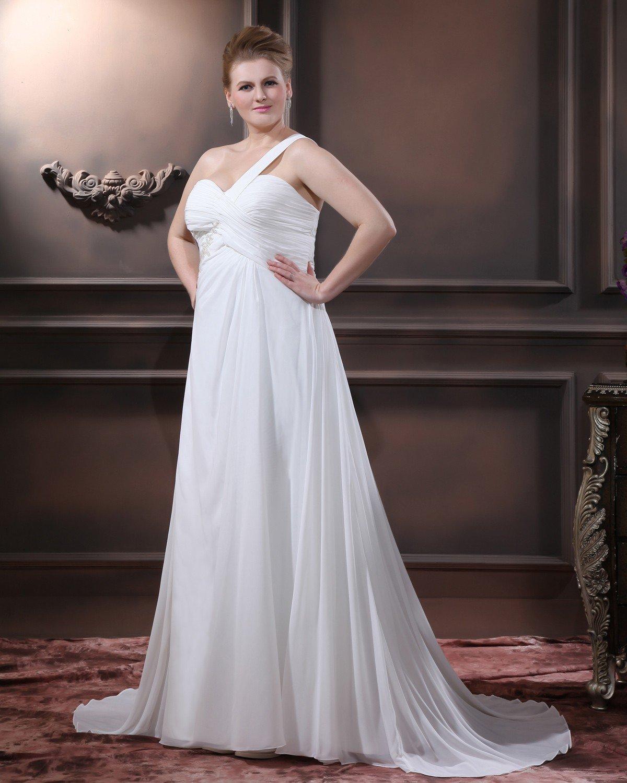 Chiffon Beads One Shoulder Floor Length Plus Size Bridal Gown Wedding Dress