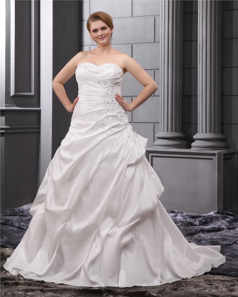 A-Line Strapless Sweep Satin Plus Size Wedding Dress