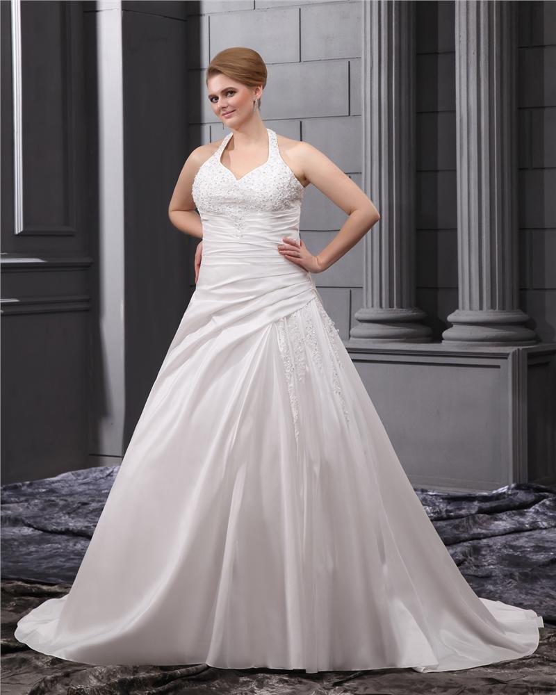 Satin Beading Applique Halter Chapel Plus Size Bridal Gown Wedding Dresses