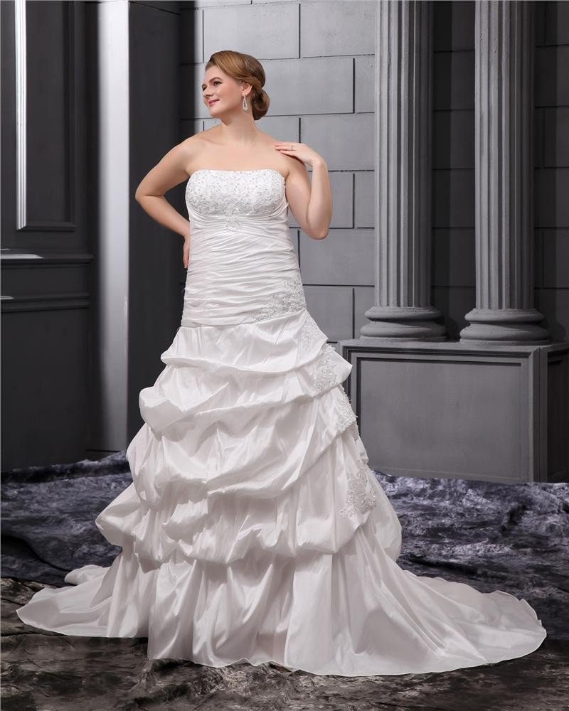 Elegant Beading Court Plus Size Bridal Gown Wedding Dress