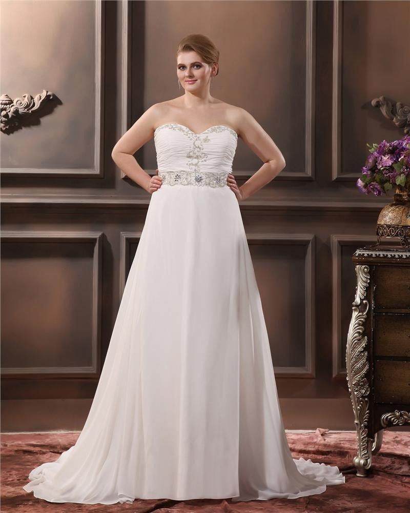 Elegant A-Line Sweetheart Sleeveless Floor-Length Chiffon Plus Size Wedding Dresses