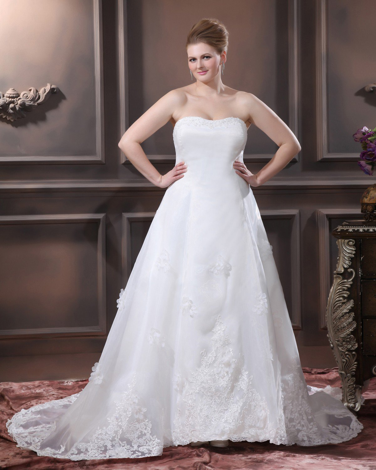 Satin Organza Beaded Applique Hand Flower Strapless Plus Size Bridal Gown Wedding Dresses