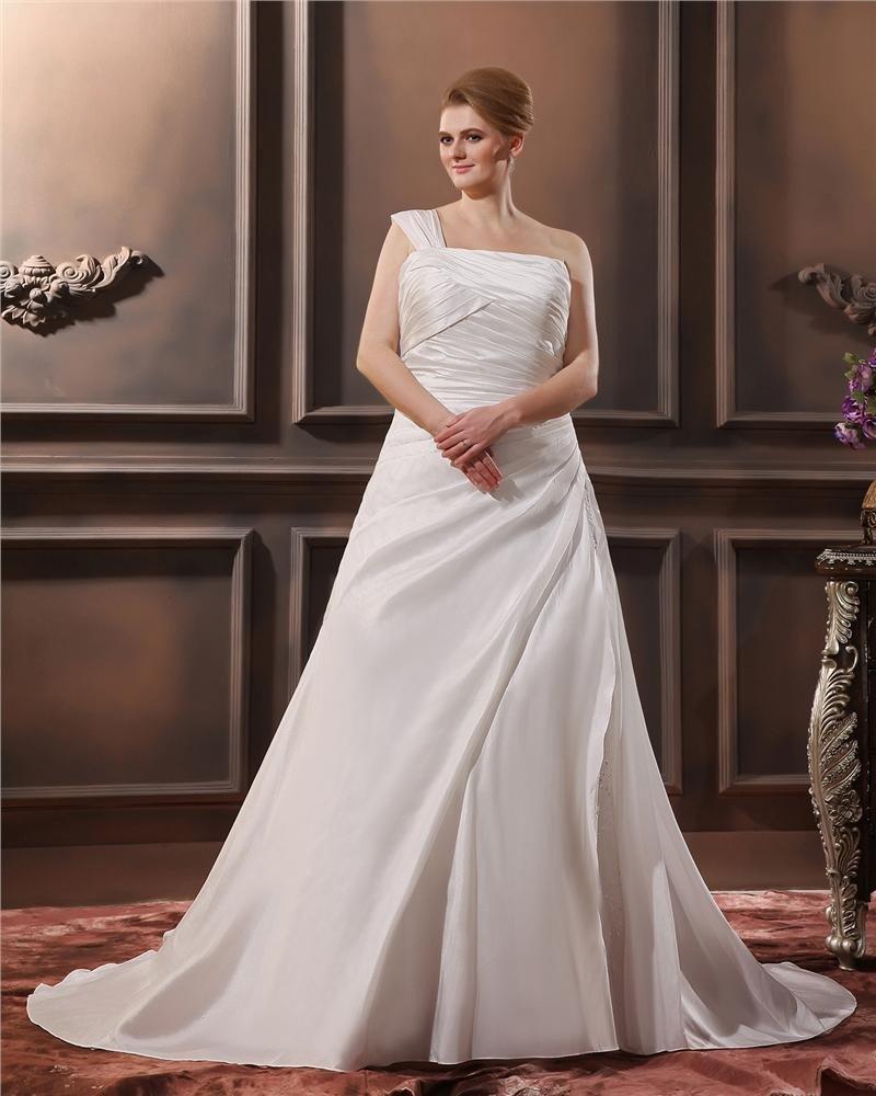 Satin Applique One Shoulder Court Plus Size Bridal Gown Wedding Dresses