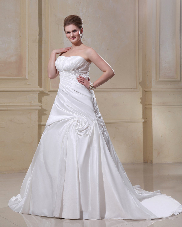 Gorgeous Satin Strapless Chapel Train A-Line Bridal Plus Size Wedding Dress