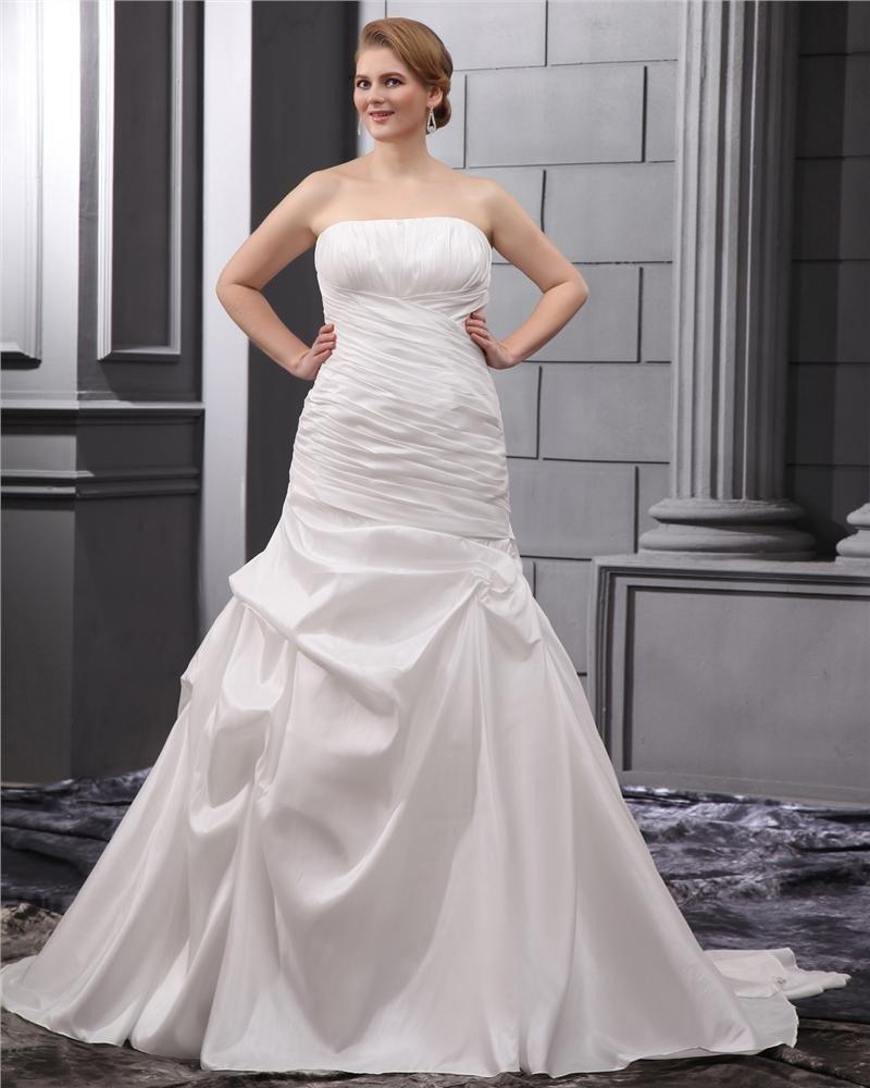 Taffeta Ruffle Court Plus Size Bridal Gown Wedding Dress