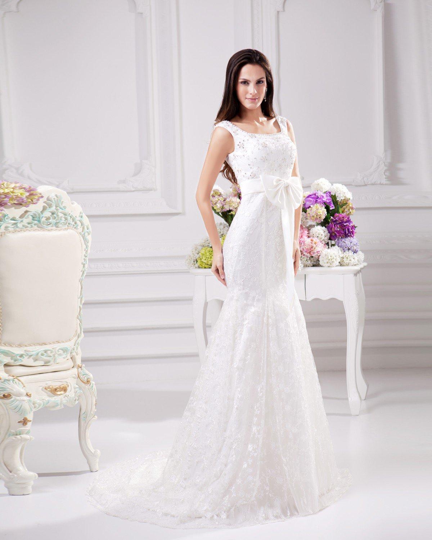 Elegant Bow Beading Scoop Floor Length Court Train Satin Yarn Lace Sheath Wedding Dress