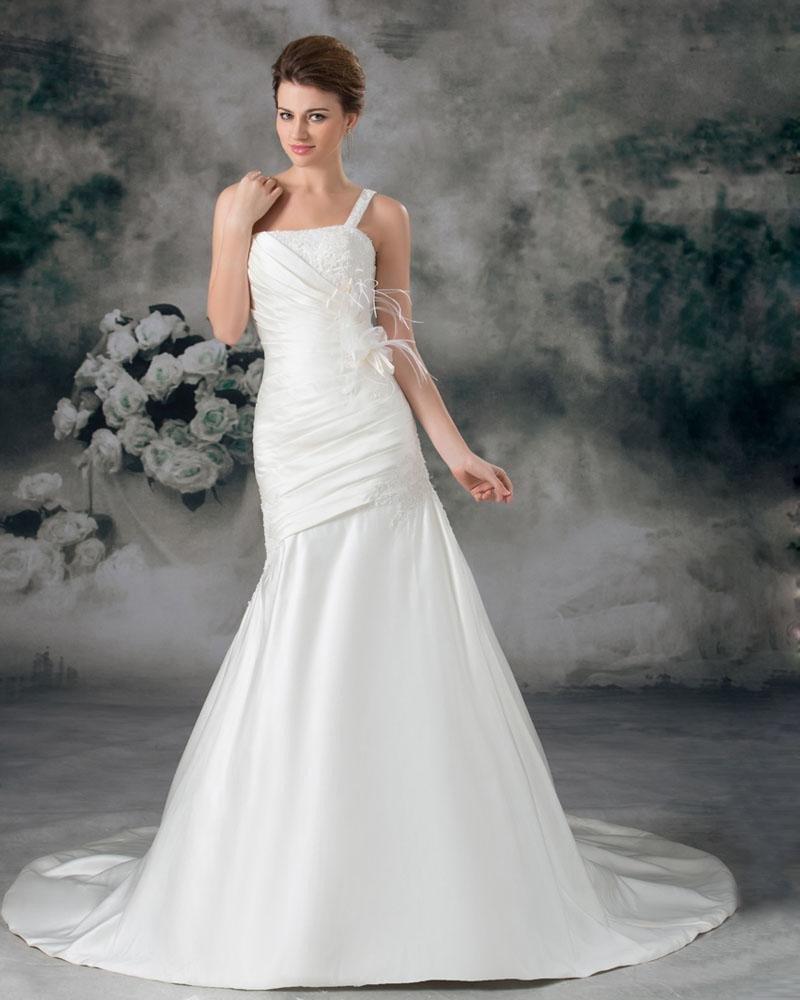 Taffeta Flower Ruffle Feather One Shoulder Court Train Sheath Wedding Dress