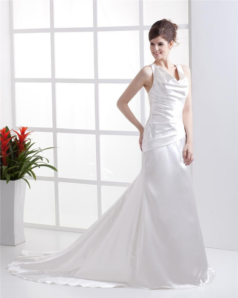 U Shaped Neck Applique Ruffle Beading Crossed Belt Floor Length Charmeuse Woman Sheath Wedding Dress