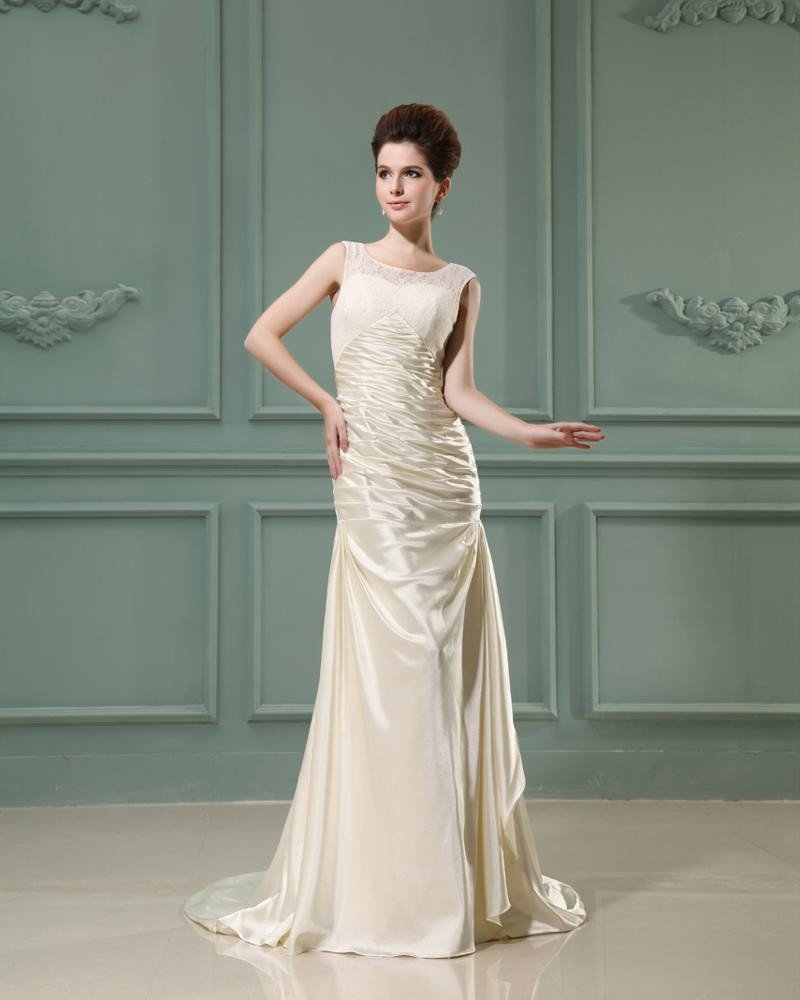 Jewel Sleeveless Zipper Ruffle Floor Length Lace Elastic Silk Like Satin Silk Sheath Wedding Dress