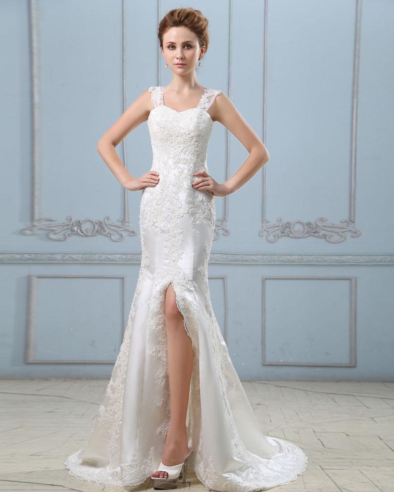 Applique Satin Slit Sleeveless Single Breasted Back Sheath Wedding Dress