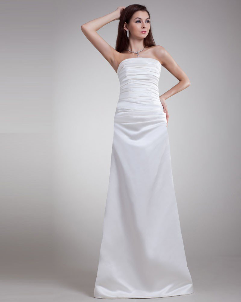 Satin Ruffle Strapless Floor Length Sheath Wedding Dress