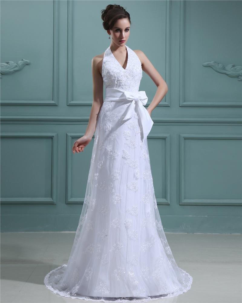 Satin Lace Applique Sweep Sheath Bridal Gown Wedding Dress